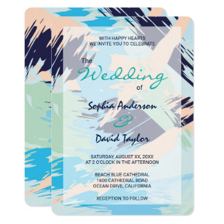 Modern Blue Maritime Wedding Card