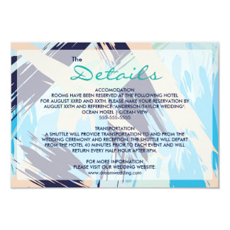 Modern Blue Maritime Wedding Details Card