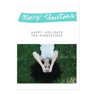 Modern Blue Merry Christmas Script Holiday Photo Postcard