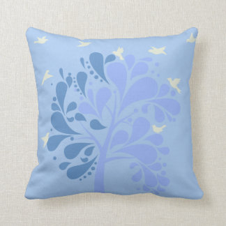 Modern Blue Pastel Illustrate Shady Tree Pillow