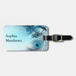Modern Blue Peacock Feathers Bag Tag
