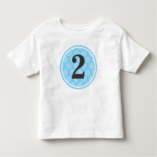 Modern Blue Polka Dot Second Birthday Boy Number 2 Toddler T-shirt
