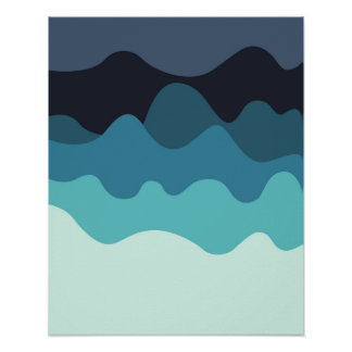 Modern blue print. Abstract waves. Navy home decor