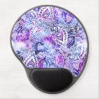 Modern blue purple hand drawn floral bohemian gel mouse pad