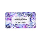 Modern blue purple hand drawn floral bohemian label