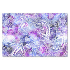 Modern blue purple hand drawn floral boho tissue paper