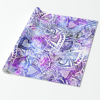 Modern blue purple hand drawn floral boho wrapping paper