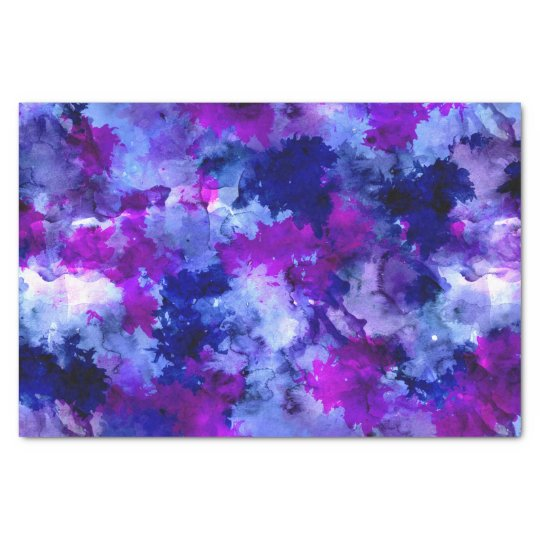 Modern blue purple watercolor brushstrokes tissue paper