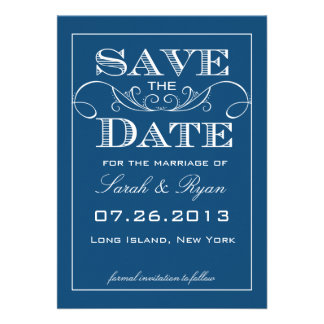Modern Blue Save the Date Announcement