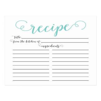 Modern Blue Script Bridal Shower Recipe Cards Postcard