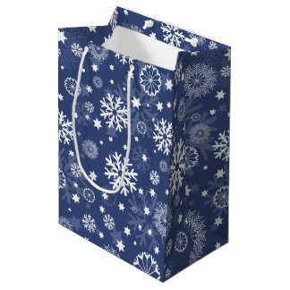 Modern Blue Snowflake Christmas Holiday Gift Bag