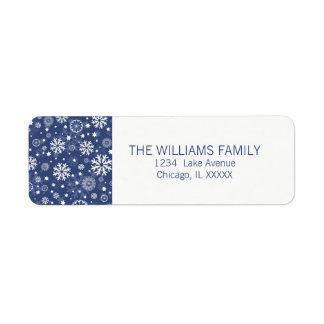 Modern Blue Snowflake Holiday Return Address Label