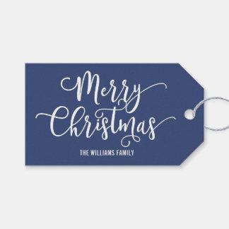 Modern Blue Snowflake Merry Christmas Gift Tag