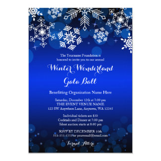 Modern Blue Snowflake Winter Gala Ball Invitations