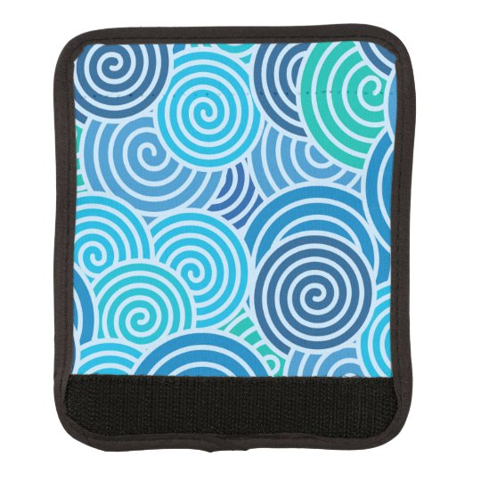 Modern Blue Spiral Pattern Luggage Handle Wrap
