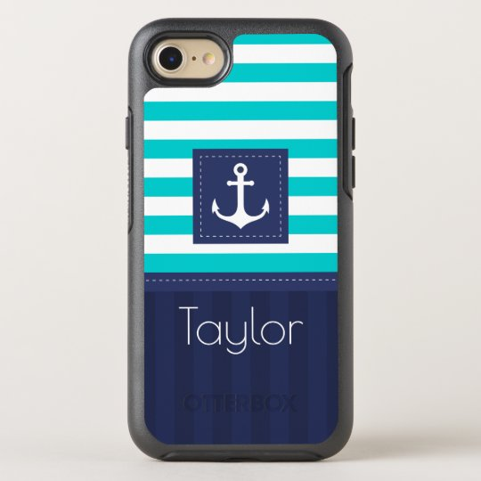 Modern Blue Striped Pattern Anchor Custom Name OtterBox Symmetry iPhone 8/7 Case
