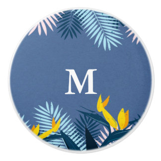 Modern blue tropical paradise monogram ceramic knob