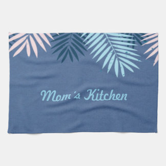 Modern Blue Tropical Paradise Monogram Kitchen Towel