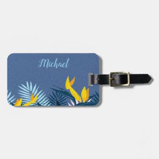 Modern Blue Tropical Paradise Monogram Luggage Tag