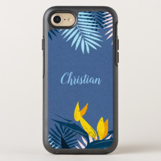 Modern Blue Tropical Paradise Monogram OtterBox Symmetry iPhone 8/7 Case