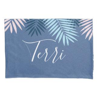 Modern blue tropical paradise monogram pillowcase