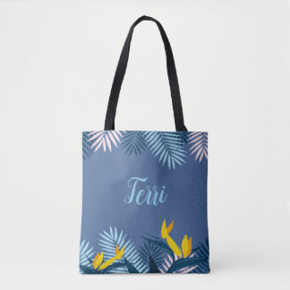 Modern Blue Tropical Paradise Monogram Tote Bag