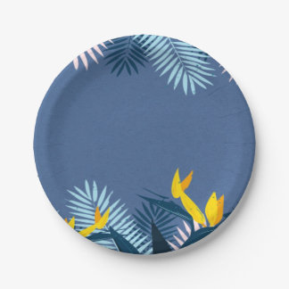 Modern Blue Tropical Paradise Paper Plate