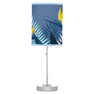 Modern blue tropical paradise table lamp