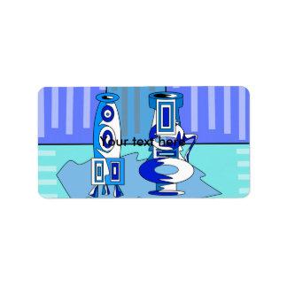 Modern blue vases address label