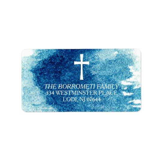 Modern Blue Watercolor Cross Return Address