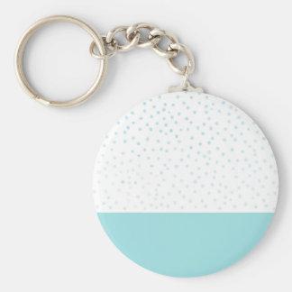 Modern blue watercolor polka dots pattern keychain