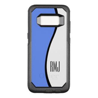 Modern Blue Wave Personalized Monogram Initials OtterBox Commuter Samsung Galaxy S8 Case
