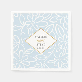 Modern Blue White Floral wedding + touch of gold Disposable Napkin