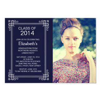 """Modern Blue White Photo Graduation Party Invite 5"""" X 7"""" Invitation Card"""