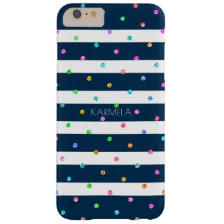 Modern Blue & White Stripes Colorful Dots Pattern Barely There iPhone 6 Plus Case