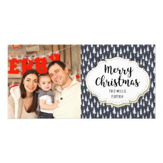 Modern Blue White Trees Christmas Photo Card
