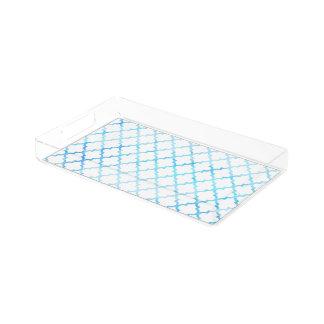 Modern blue white watercolor quatrefoil pattern acrylic tray