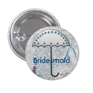 Modern Blue white wedding Umbrella Bridal Shower Pinback Button