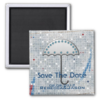 modern blue winter wedding save the date square magnet