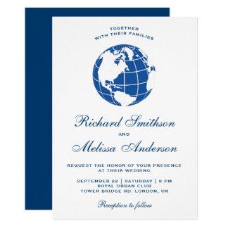 Modern Blue World Map Globe Wedding Invitation