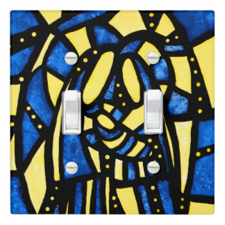 Modern Blue Yellow Holy Family Light Switch Cover
