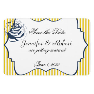 Modern Blue Yellow Stripe Save the Date Rectangular Photo Magnet