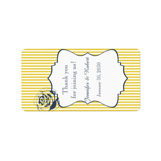 Modern Blue Yellow Stripe Wedding Lip Balm Label