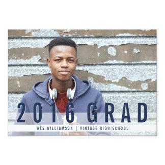 "Modern Blues Photo Graduation Party 5"" X 7"" Invitation Card"