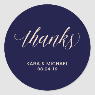 Modern Blush and Navy Calligraphy | Thanks Round Sticker