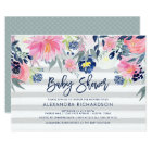 Modern Blush and Navy Floral Baby Shower Card