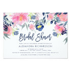 Modern Blush and Navy Floral Bridal Shower Card