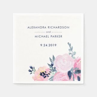 Modern Blush and Navy Floral Wedding Disposable Napkins