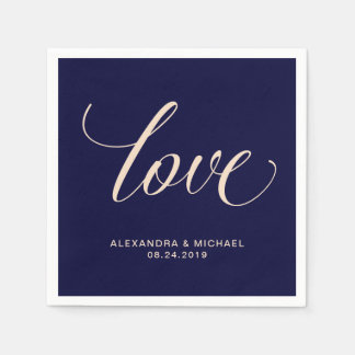 Modern Blush and Navy Typography | Love Paper Napkin