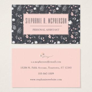 Modern Blush & Charcoal Floral Print Business Card